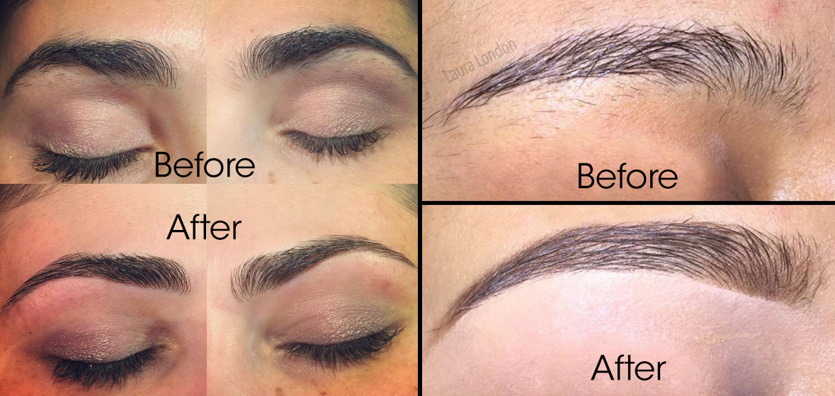 Left: Eyebrows by Adrian Avila. Right: Eyebrows by Laura London.